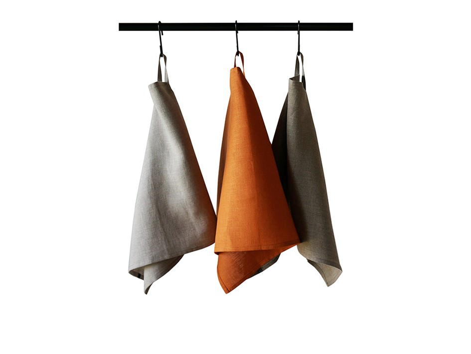 Linen tea towels Set Rust