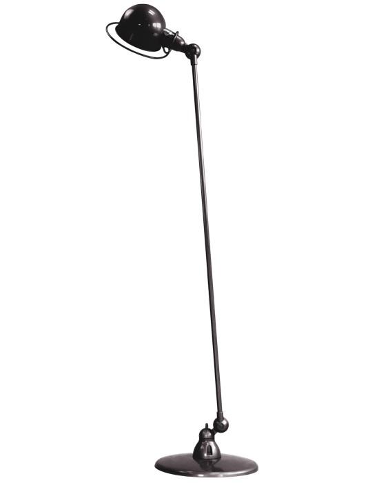 Loft 120cm Single Arm Floor Lamp Black, Gloss