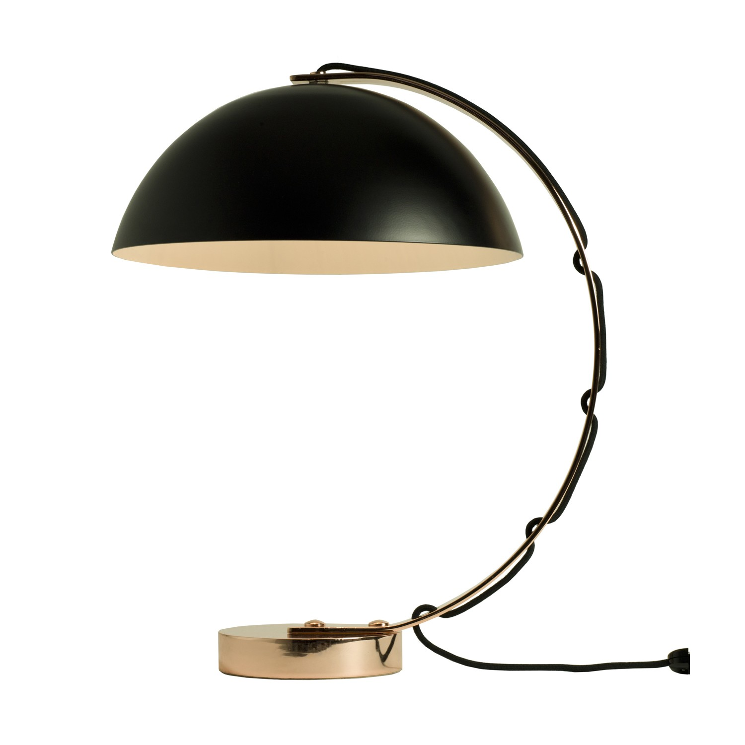 London Table Lamp Black with Copper Base