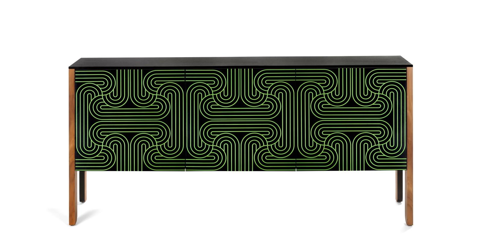 Loop Cabinet 3 Door Sideboard GREEN