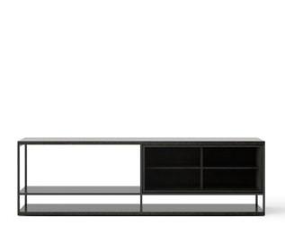 LOP004 Literatura Open Sideboard Dark Grey Stained Oak, Black Textured Metal
