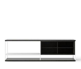 LOP004 Literatura Open Sideboard Dark Grey Stained Oak, White Textured Metal