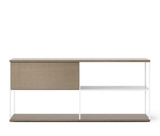 LOP102 Literatura Open TV Cabinet White Textured Metal, Siena Grey Stained Oak