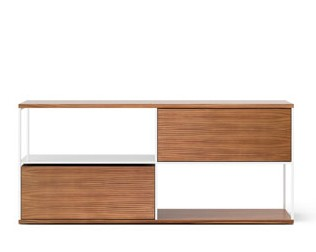 LOP105 Literatura Open Sideboard Super-matt Walnut, White Textured Metal