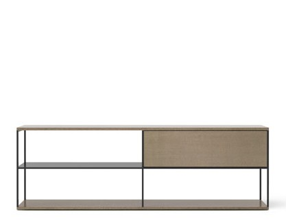 LOP108 Literatura Open Sideboard Siena Grey Stained Oak, Black Textured Metal