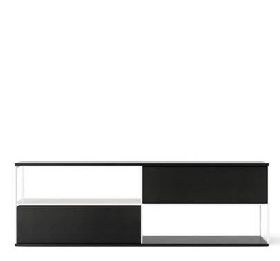LOP110 Literatura Open Sideboard Ebony Stained Oak, White Textured Metal
