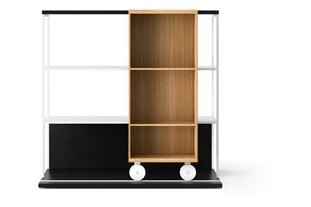 LOP201 Literatura Open Bookcase Ebony Stained Oak, Super-matt Oak, White Textured Metal