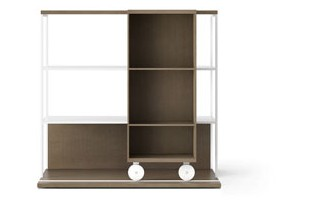 LOP201 Literatura Open Bookcase Siena Grey Stained Oak, Siena Grey Stained Oak, White Textured Metal