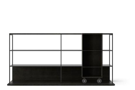 LOP202 Literatura Open Bookcase Dark Grey Stained Oak, Dark Grey Stained Oak, Black Textured Metal