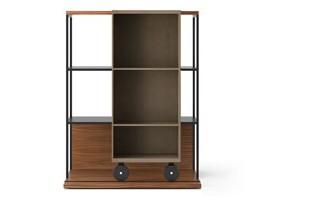 LOP210 Literatura Open Bookcase Super-matt Walnut, Siena Grey Stained Oak, Black Textured Metal