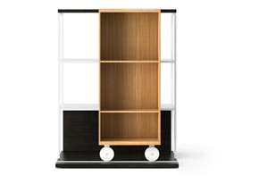 LOP210 Literatura Open Bookcase Dark Grey Stained Oak, Super-matt Oak, White Textured Metal