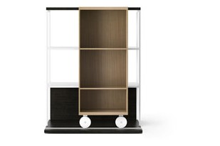 LOP210 Literatura Open Bookcase Dark Grey Stained Oak, Whitened Oak, White Textured Metal