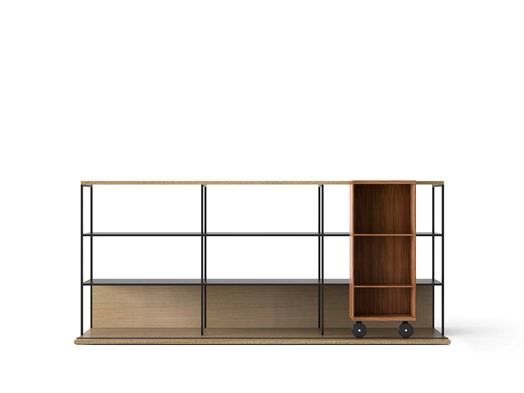 LOP230 Literatura Open Bookcase Whitened Oak, Super-matt Walnut, Black Textured Metal