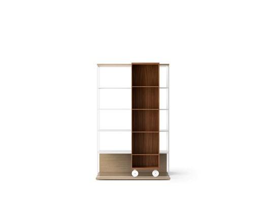 LOP401 Literatura Open Bookcase Whitened Oak, Super-matt Walnut, White Textured Metal