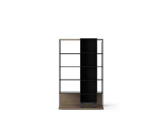LOP401 Literatura Open Bookcase Siena Grey Stained Oak, Ebony Stained Oak, Black Textured Metal
