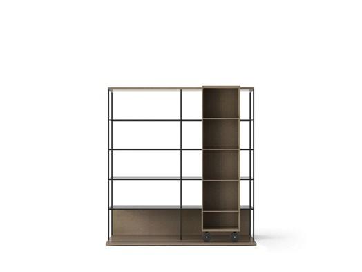 LOP420 Literatura Open Bookcase Siena Grey Stained Oak, Siena Grey Stained Oak, Black Textured Metal