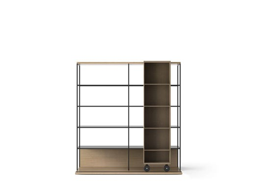 LOP420 Literatura Open Bookcase Whitened Oak, Siena Grey Stained Oak, Black Textured Metal