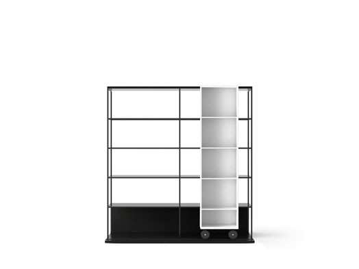 LOP420 Literatura Open Bookcase Ebony Stained Oak, White Open Pore Lacquered On Oak, Black Textured