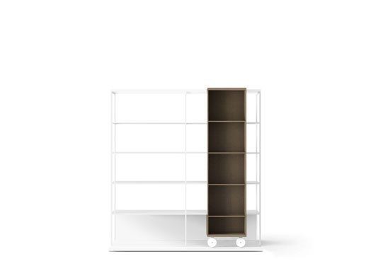 LOP420 Literatura Open Bookcase White Open Pore Lacquered On Oak, Siena Grey Stained Oak, White Text