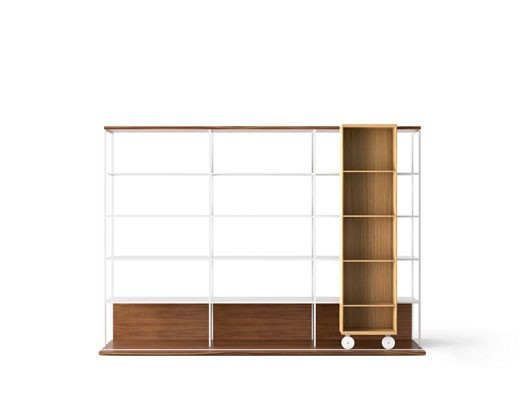 LOP430 Literatura Open Bookcase White Open Pore Lacquered On Oak, Super-matt Oak, White Textured Met