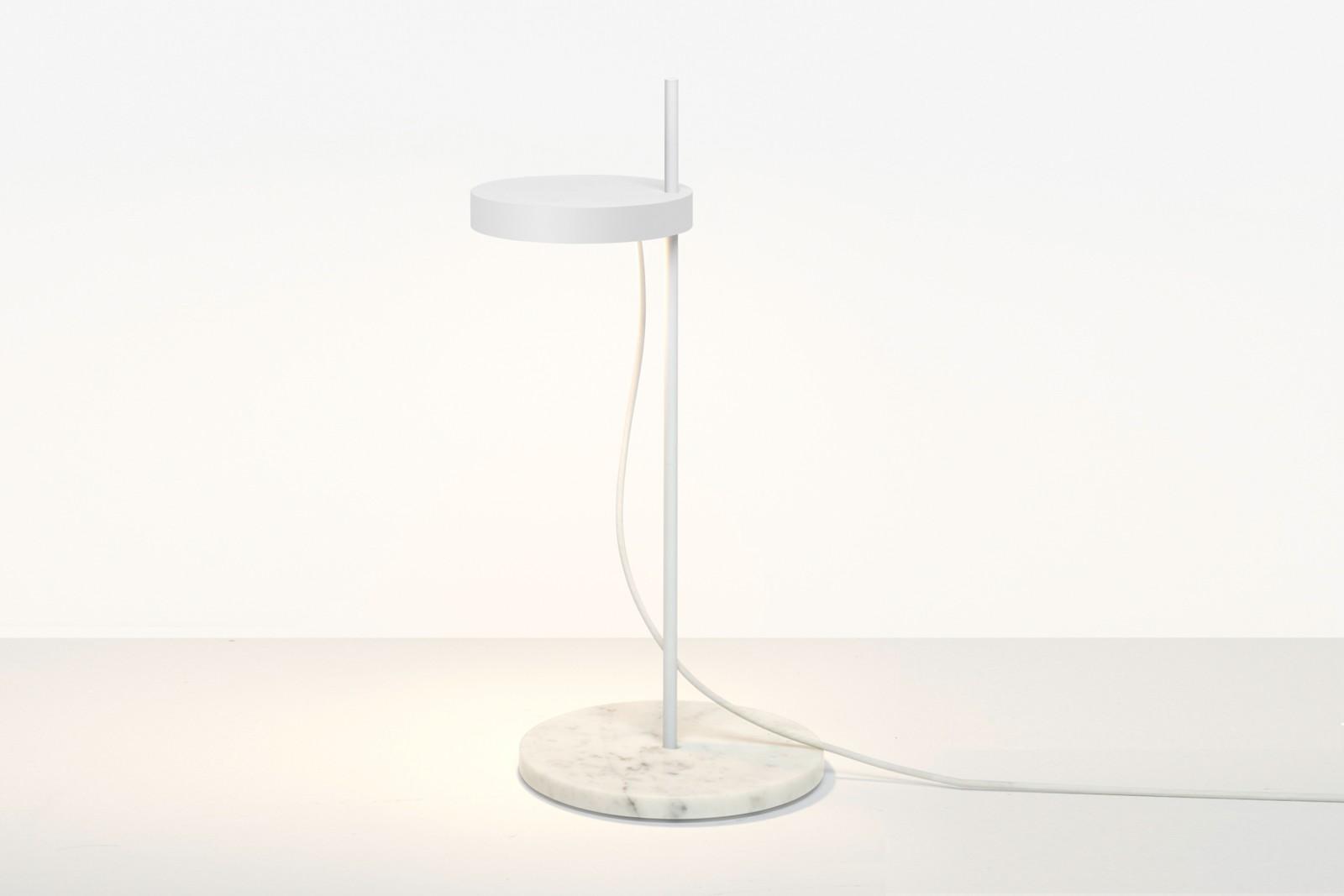 LT06 Palo Table Lamp Signal White with Bianco Carrara Marble Base