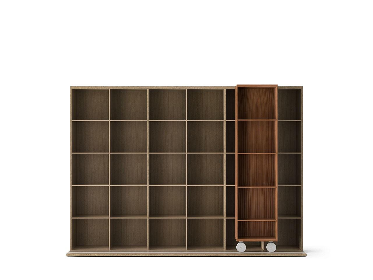LTL430 Literatura Light Bookcase Super-matt Walnut, Whitened Oak