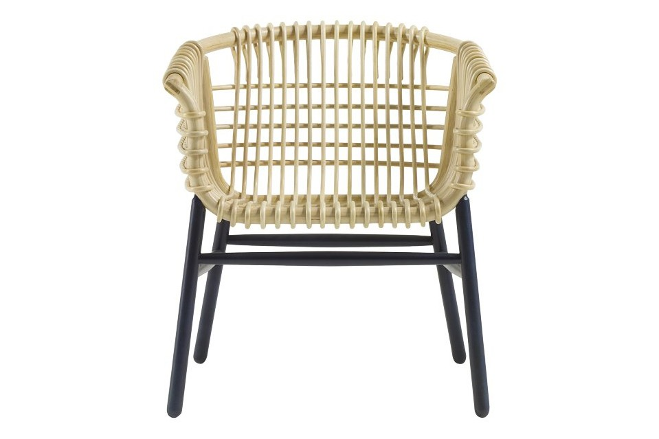 Lukis Armchair Natural Rattan in Blue Stained Wood, Large