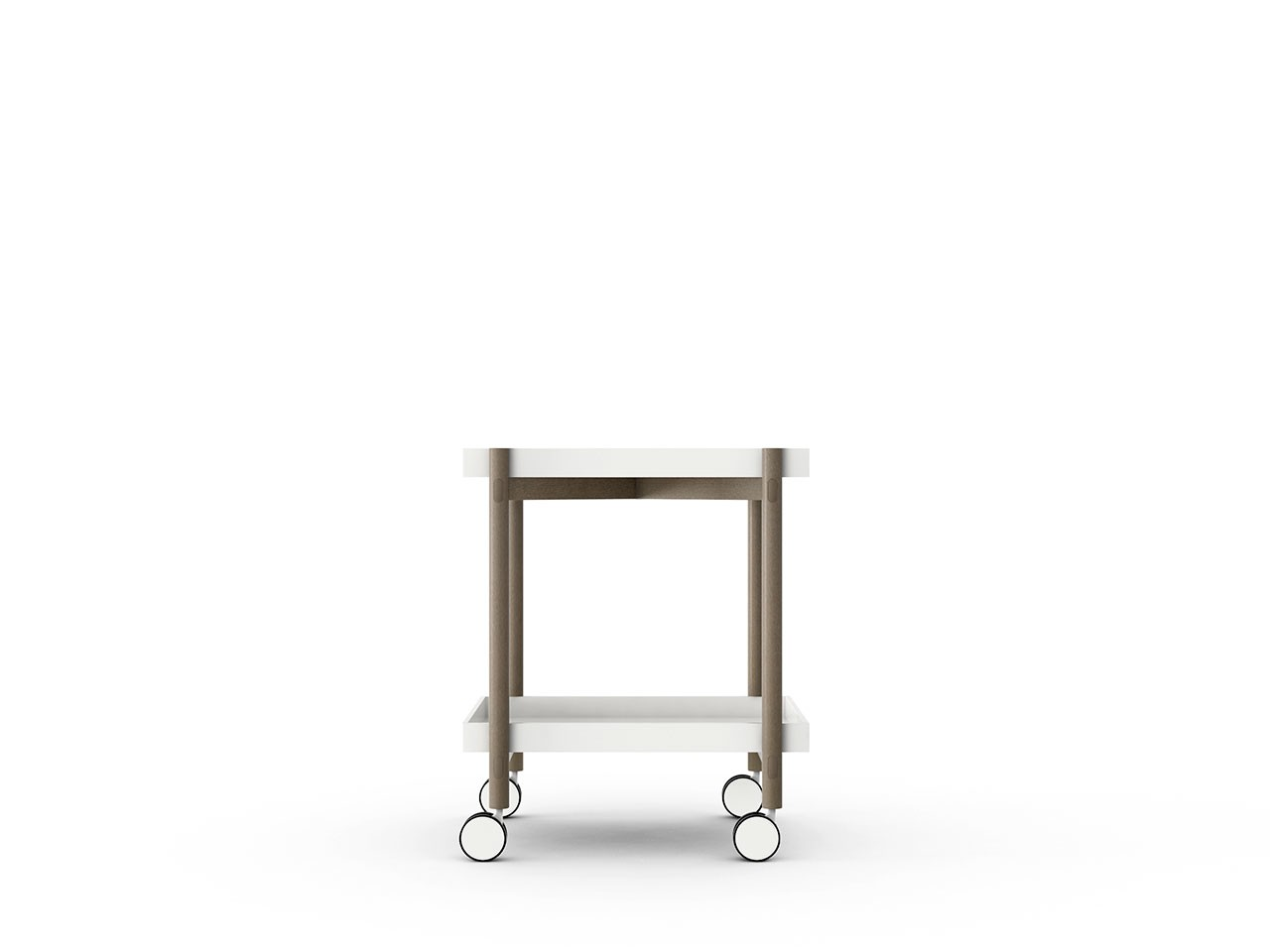 Mai Tai Trolley White Texturised Lacquered, Siena Grey Stained Oak