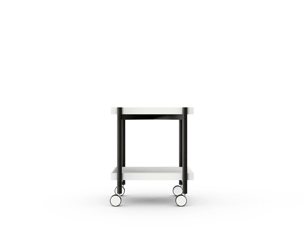 Mai Tai Trolley White Texturised Lacquered, Dark Grey Stained Oak