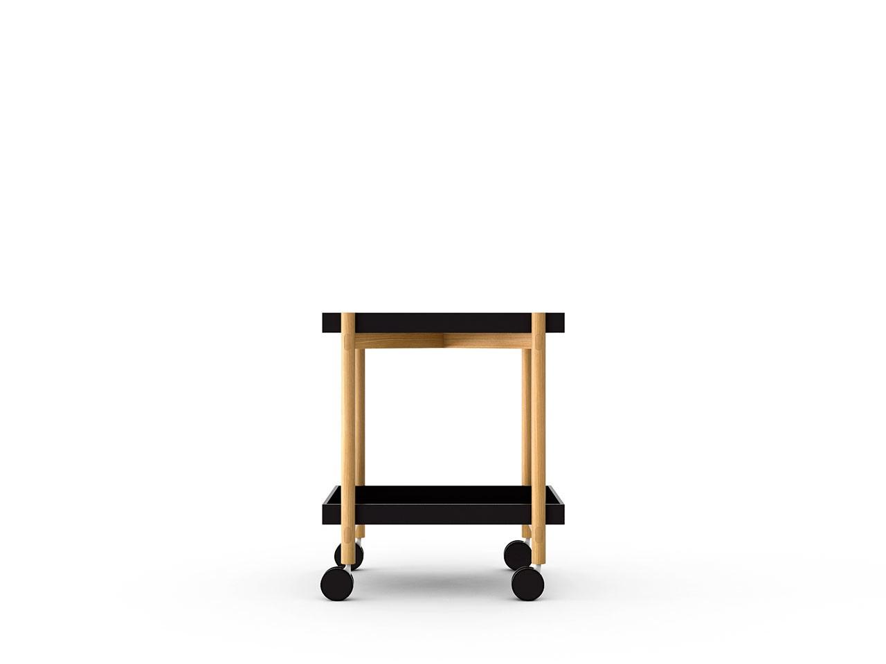 Mai Tai Trolley Black Texturised Lacquered, Super-Matt Oak