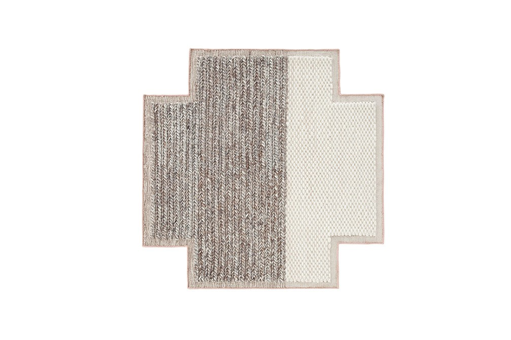 Mangas Space Plait Square Rug Ivory, 160x160 cm