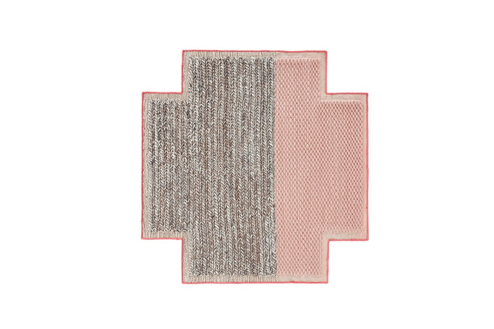 Mangas Space Plait Square Rug Pink, 160x160 cm