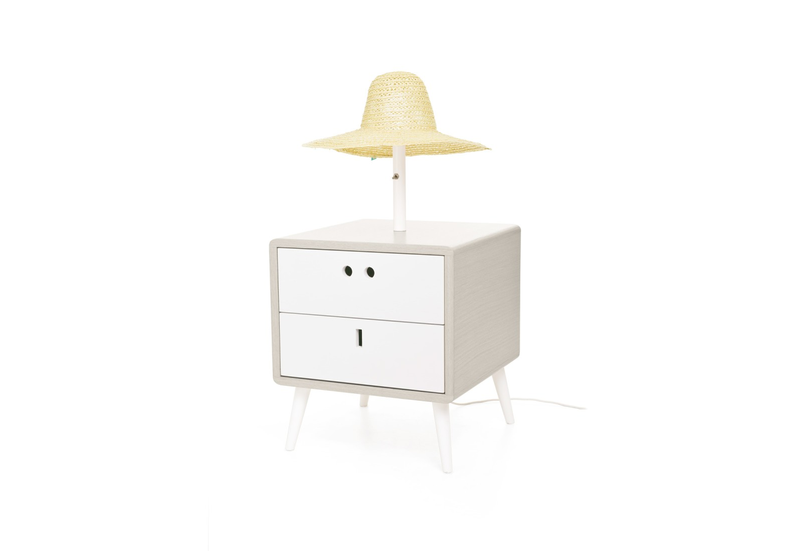 Maria Bedside Table & lamp Light Grey