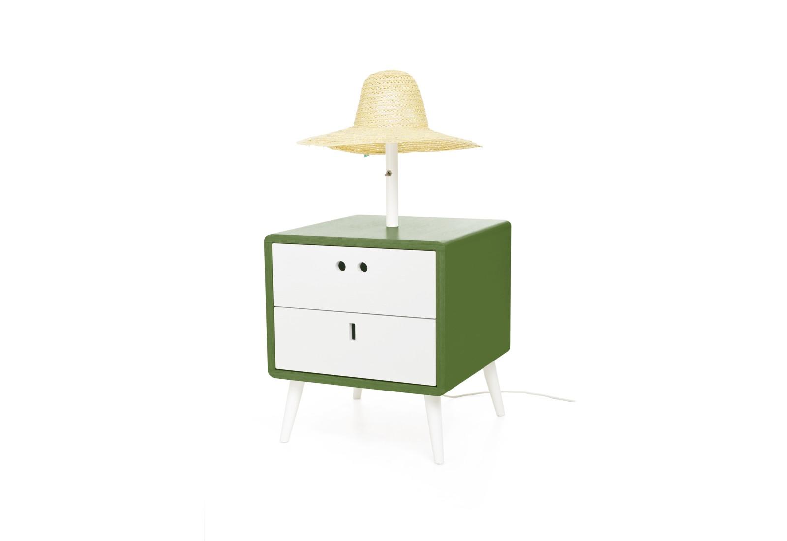 Maria Bedside Table & lamp Sleepy Green