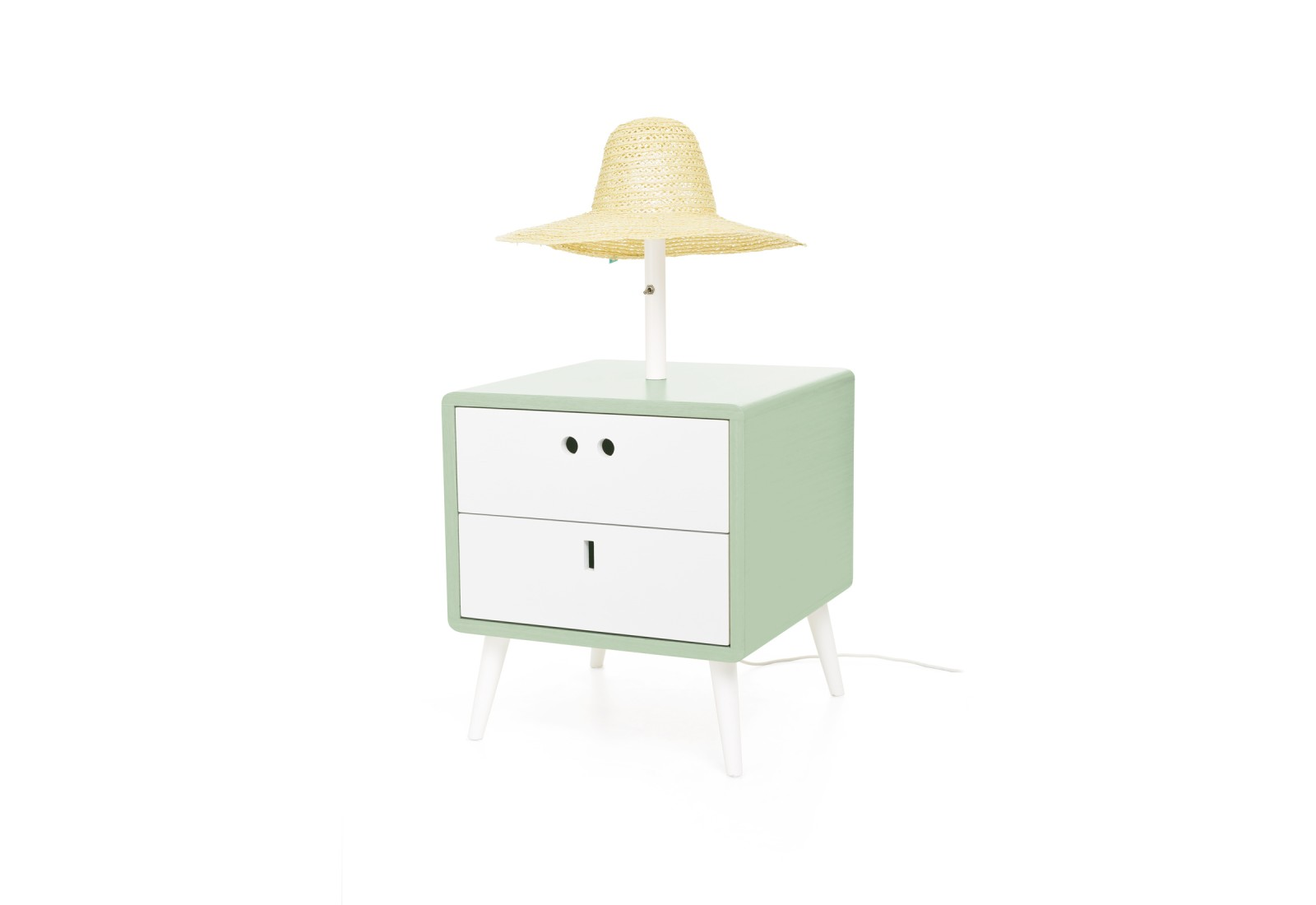 Maria Bedside Table & lamp Soft Green