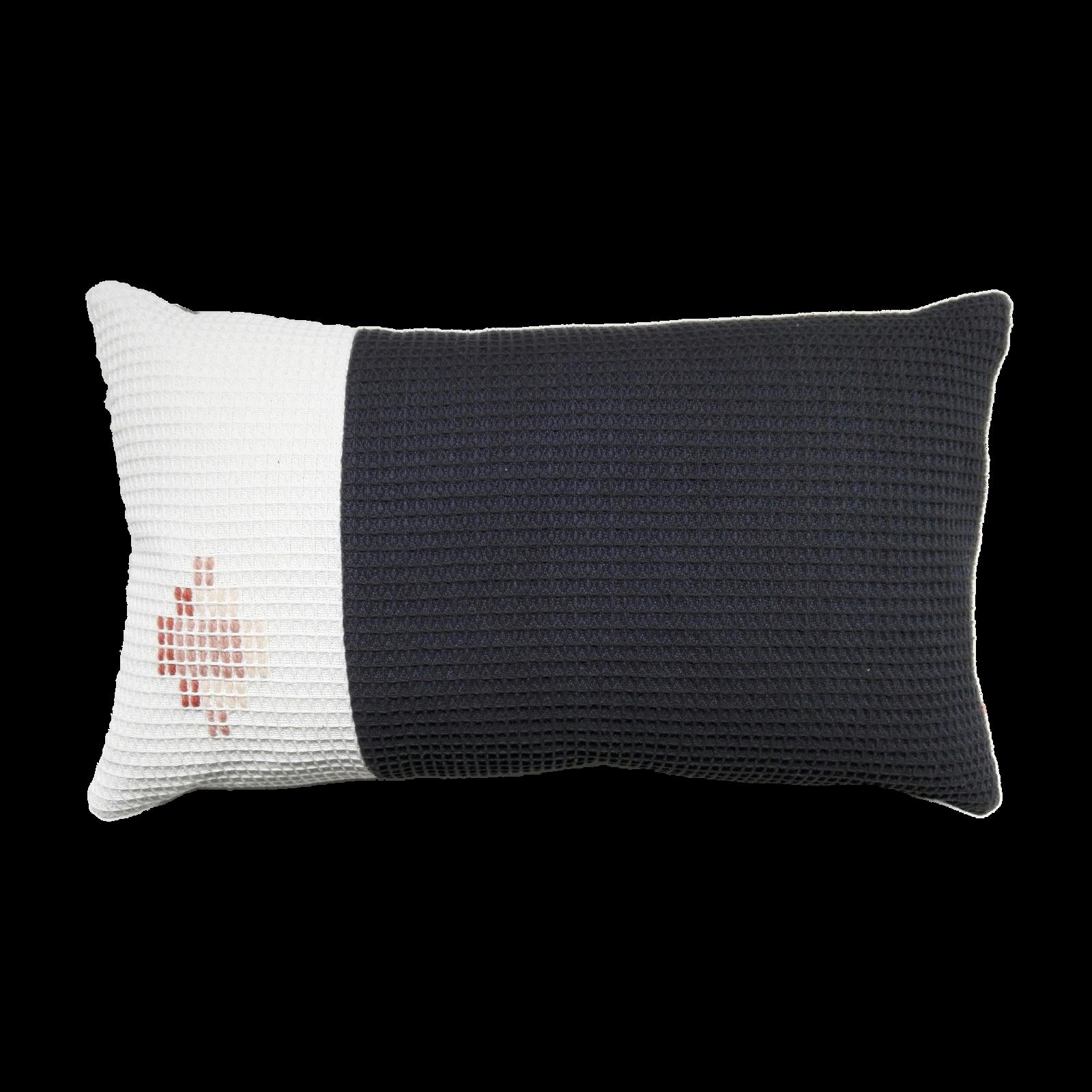 MASON organic cotton hand embroidered navy white rectangle