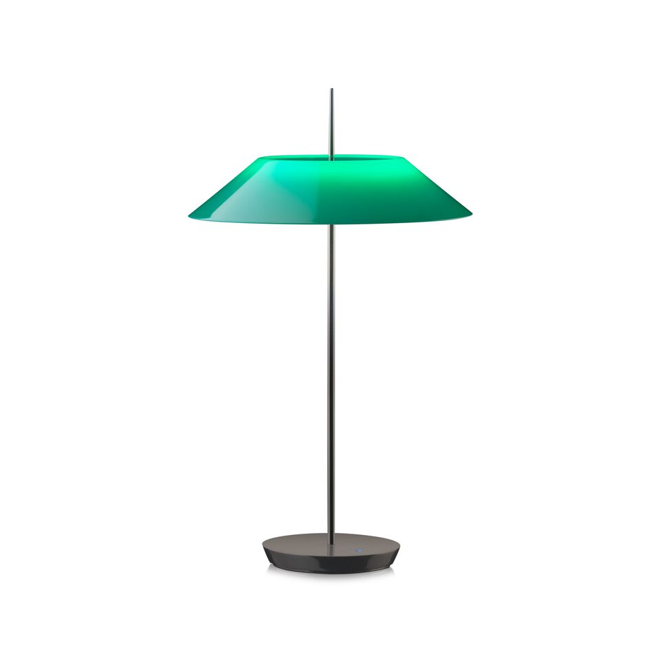 Mayfair Table Lamp Gloss Black Nickel and Green