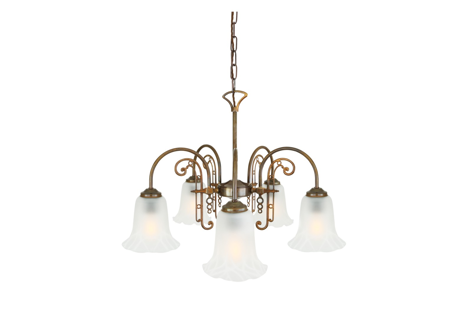 Medan 5 Arm Chandelier Antique Brass