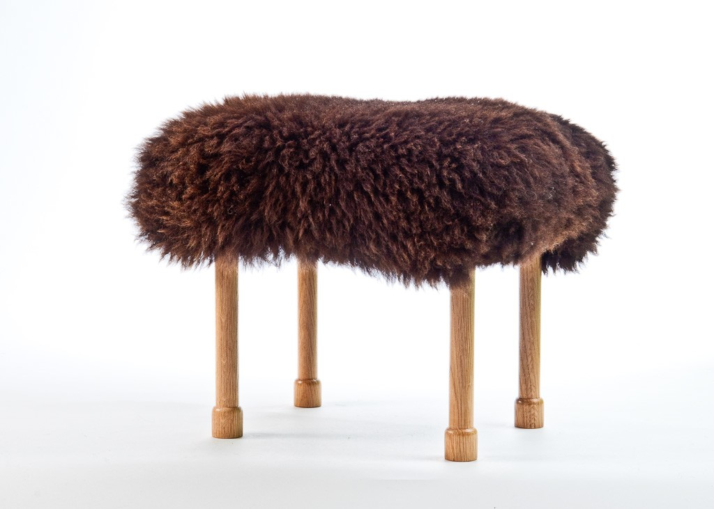 Megan Sheepskin Footstool Chocolate Brown