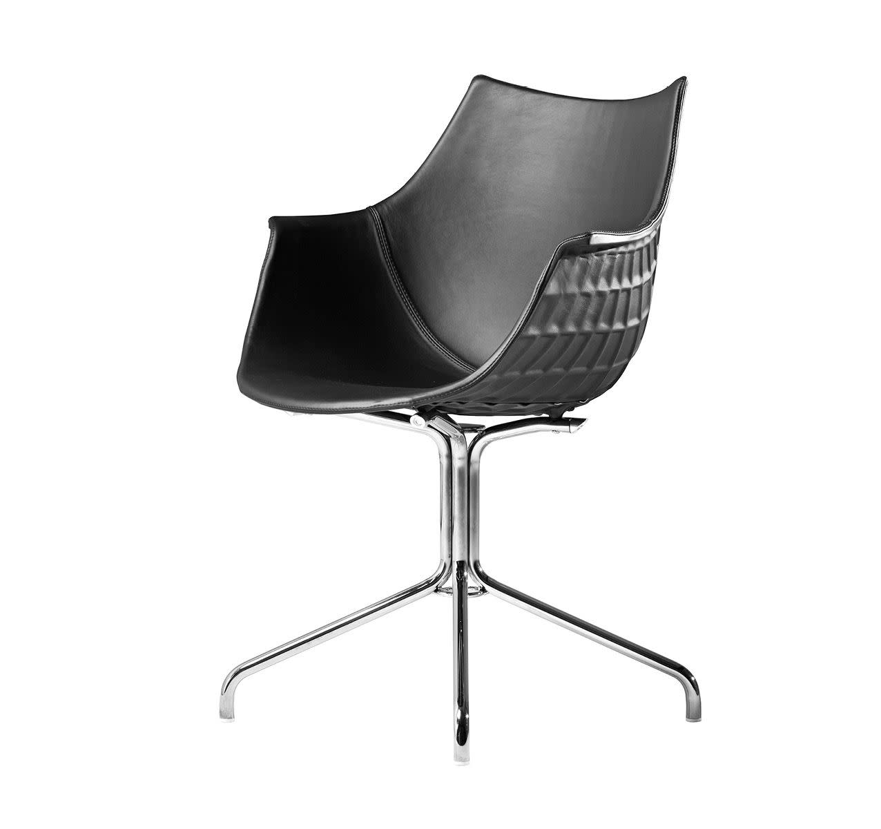 Meridiana Chair with Swivel Base Upholstered Chrome, Tigri - Arancione 5360