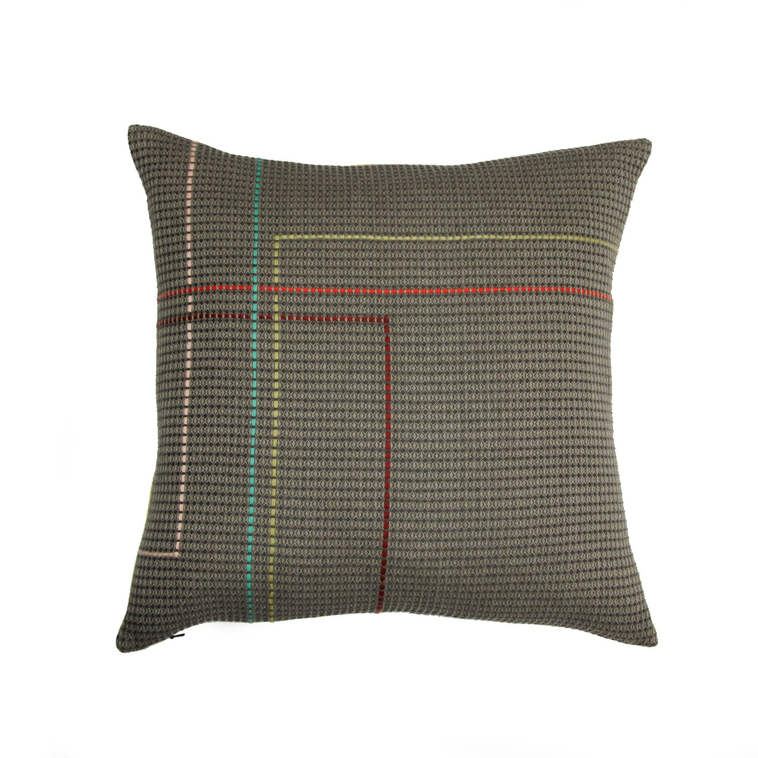 MERRION organic cotton hand embroidered taupe olive square cushion