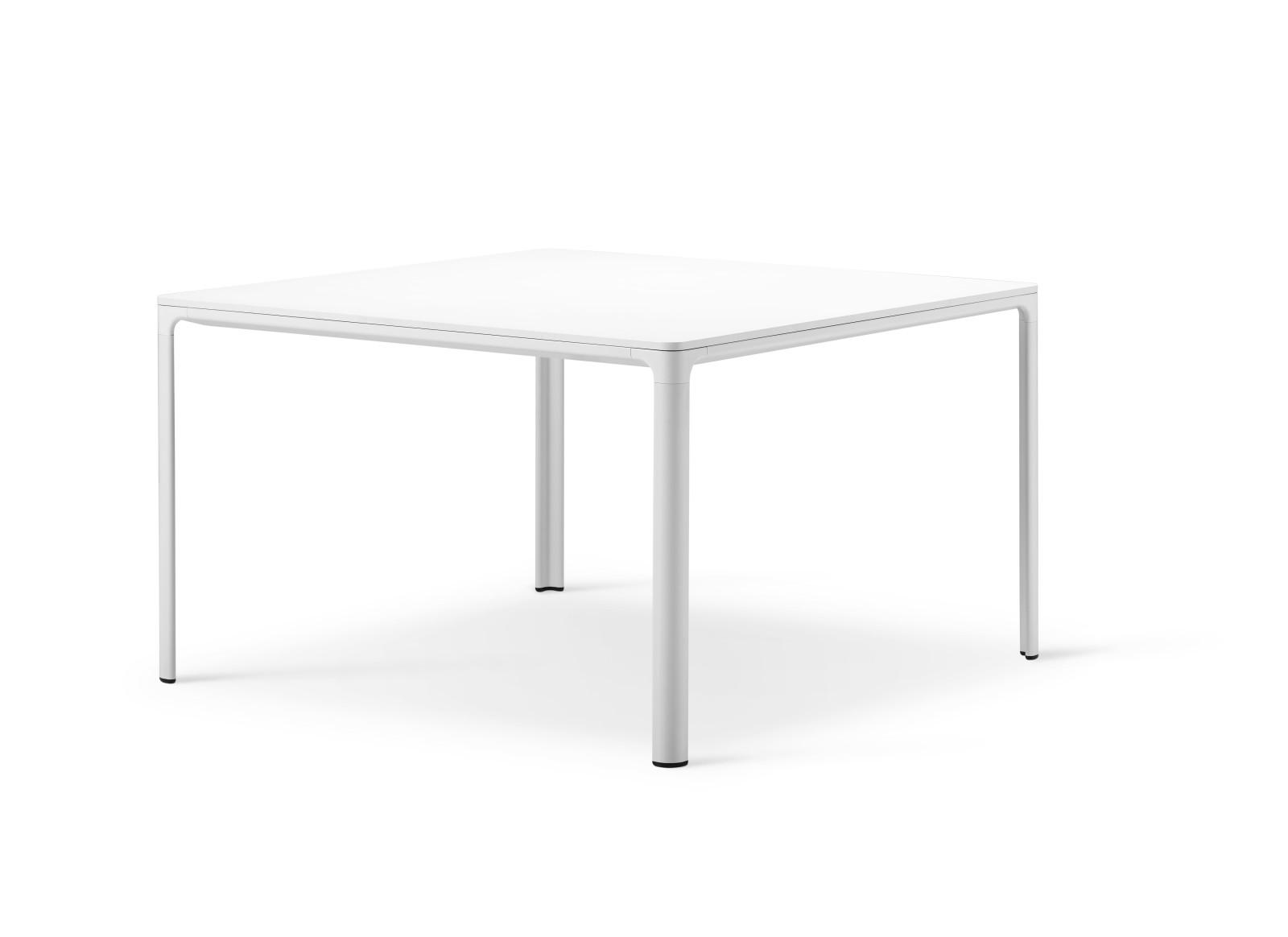 Mesa table Black linoleum, White painted aluminum, 120 x 120 x 73