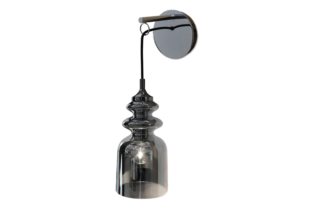 Messalina Wall Lamp Chrome, Diffusing chromed glass