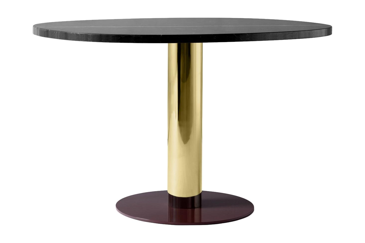 Mezcla JH22 Dining Table Nero Marquina, Brass & Burgundy