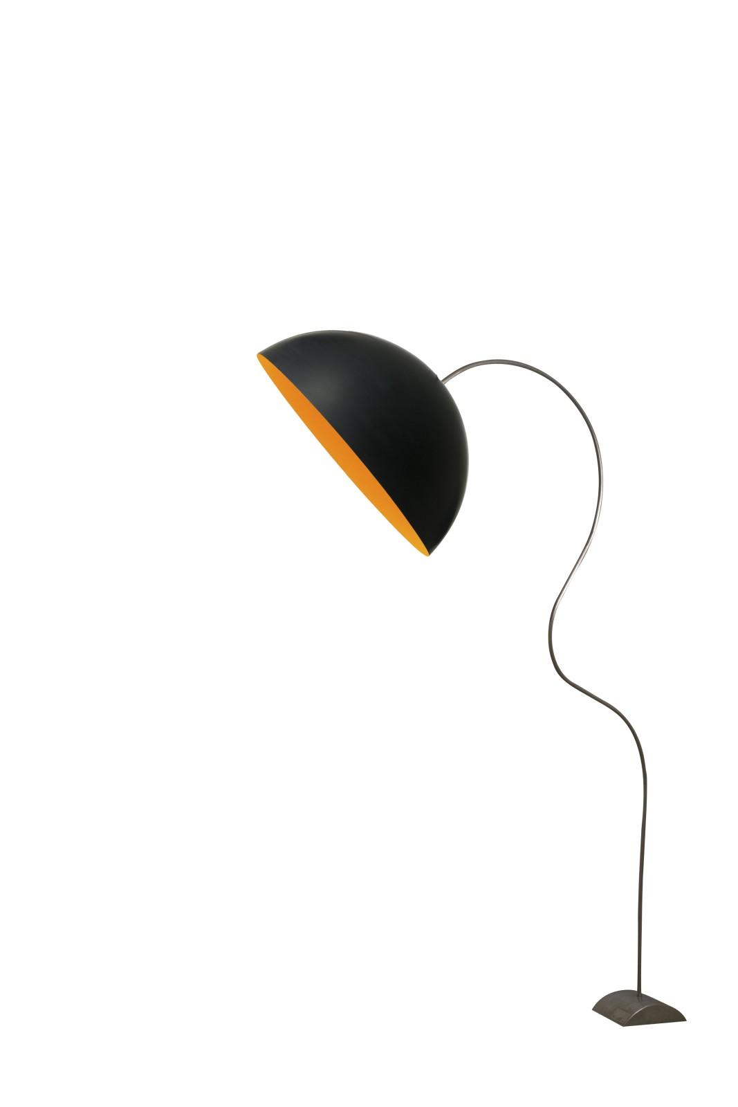 Mezza Luna Piantana Floor Lamp Black, Orange