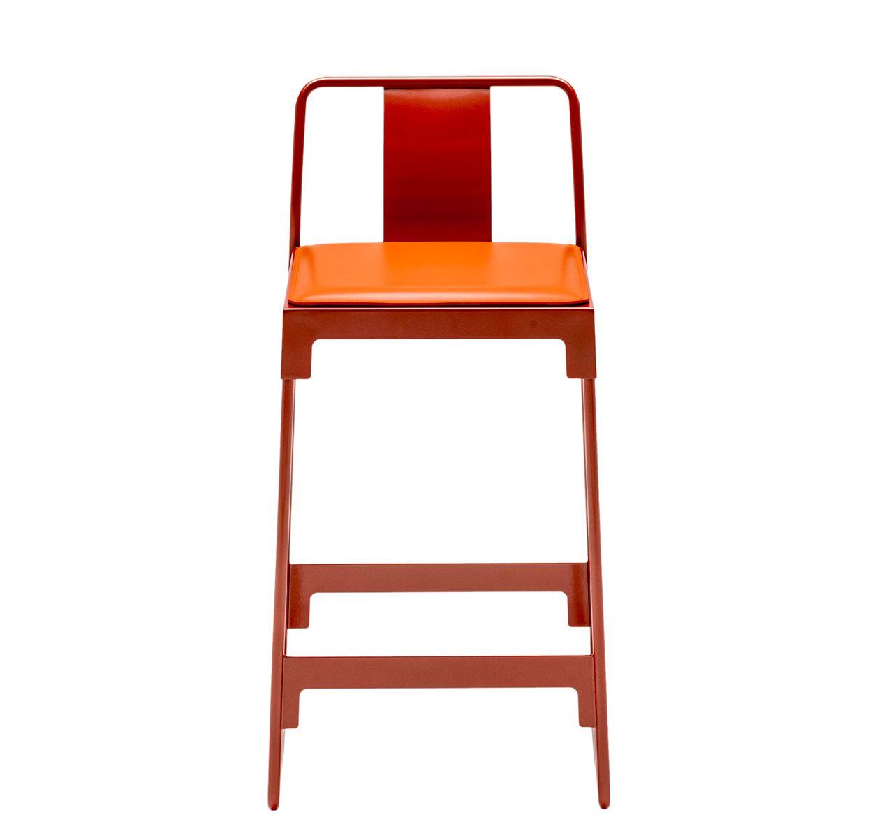 MINGX - Indoor Low Stool With Back Orange