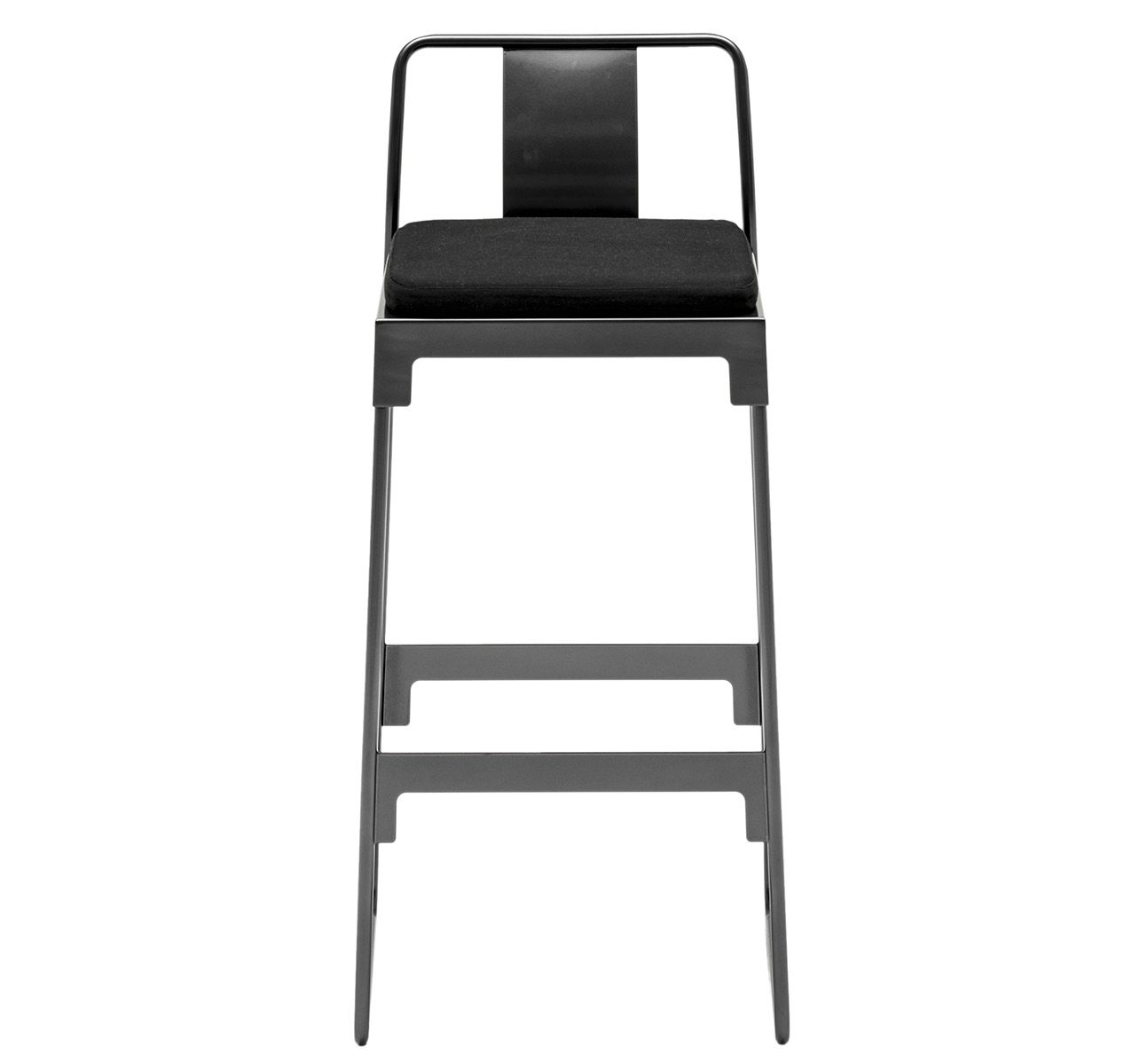 MINGX - Outdoor High Stool with Back Black