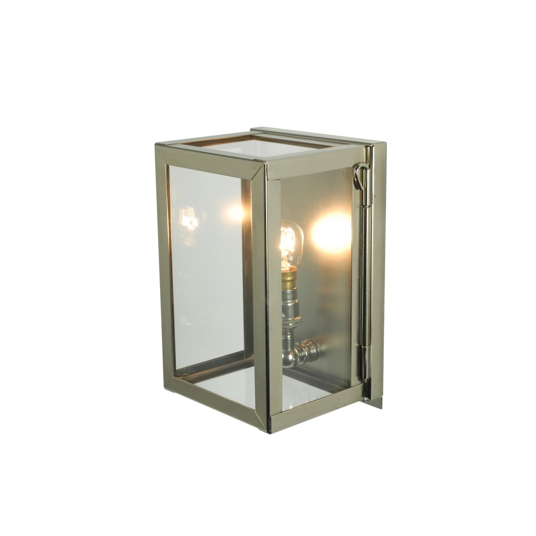 Miniature Box Wall Light 7643 Polished Nickel, Clear Glass