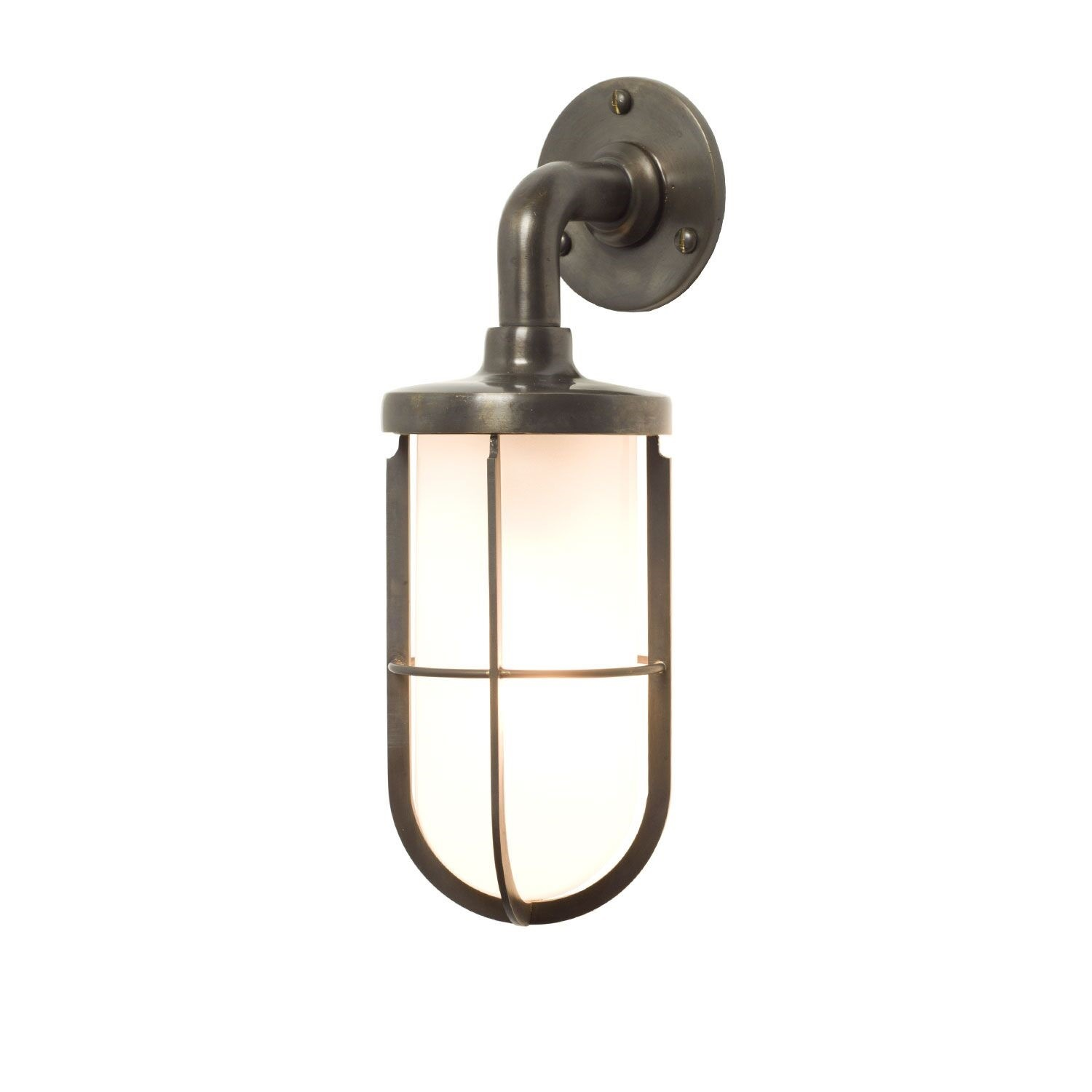 Miniature Ship's Well Glass Light 7207 Weathered Brass, Frosted glass
