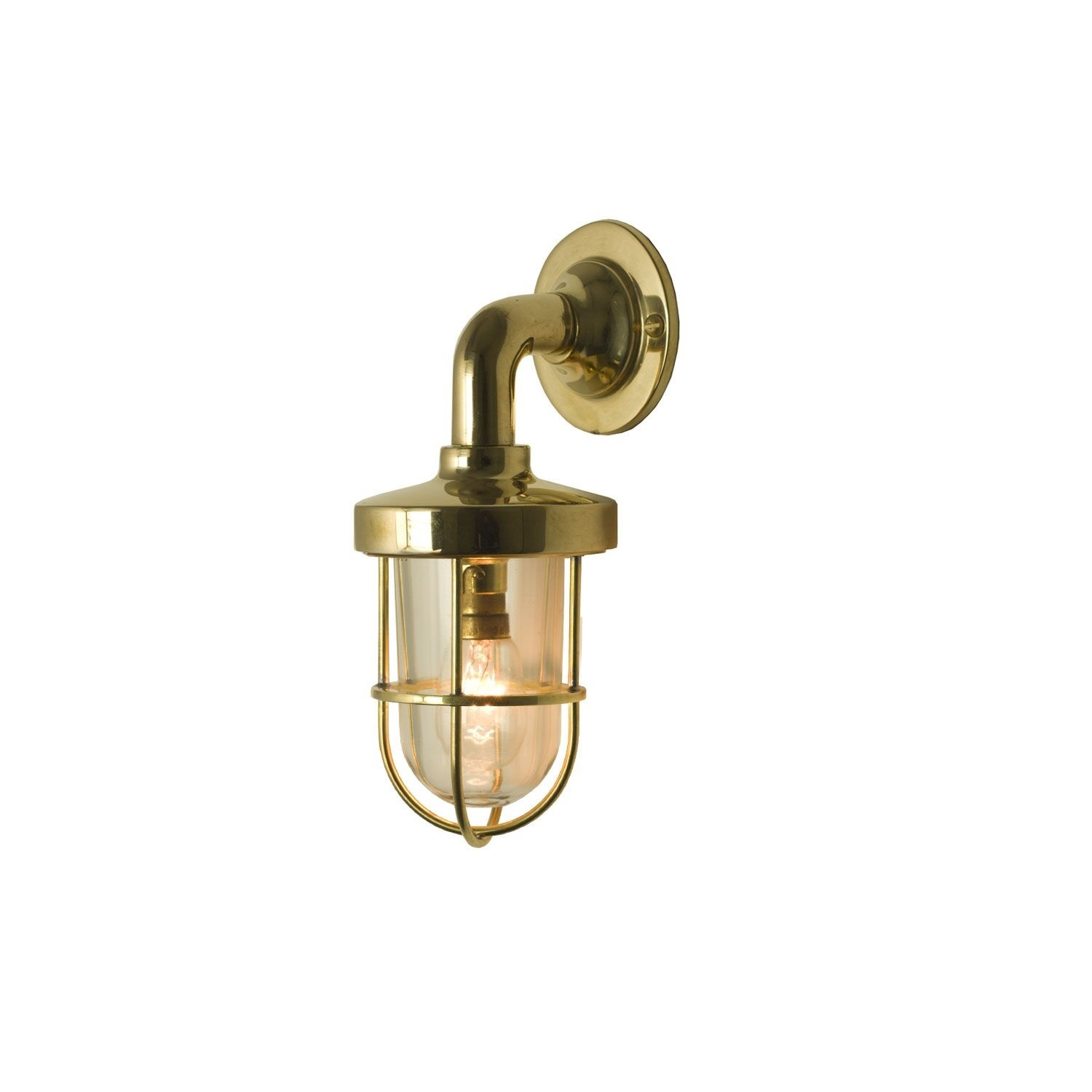 Miniature Weatherproof Ship's Well Glass Light 7207 Polished Brass, Clear glass
